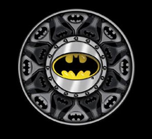 lots of batman logos on a tee