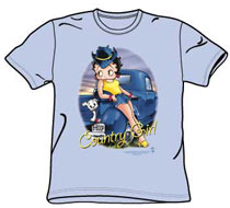 Betty Boop Tshirt  - Country Girl - Light Blue