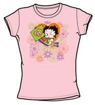 Betty Boop Ladies Tshirt - Peace Love and Boop - Pink