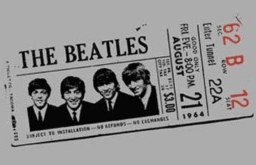 Beatles Tshirt - 1964 Concert Ticket - Grey