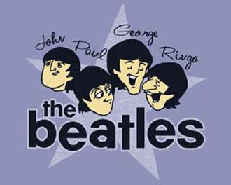 Beatles t-shirt - cartoon star - blue - crystallina ink