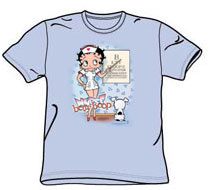 Betty Boop - Nurse Tshirt - Light Blue