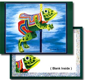 Carousel Frog Note Card