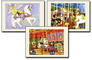 Set of 3 Carousel Horse Art Prints