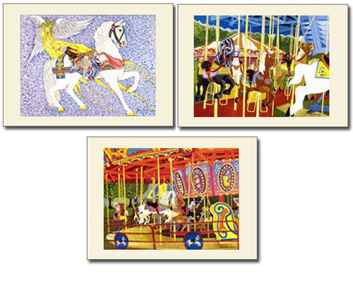 Beautiful Carousel Horse Art Print Set of 3