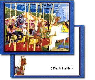 The Blue Racer - Whimsical Carousel Horse Note Card