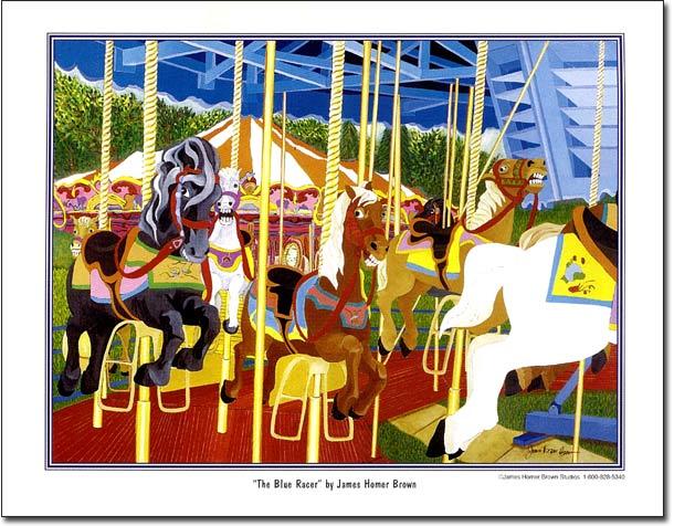 The Blue Racer - Whimsical Carousel Horse Art Print