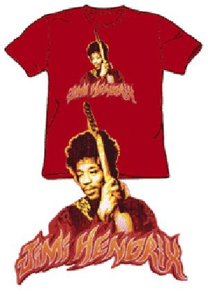 Jimi Hendrix Tshirt - Fire - Crimson Red