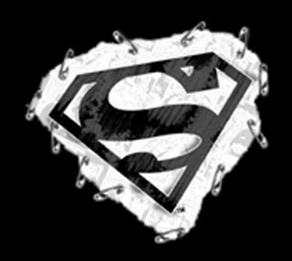 Superman T Shirt Punk Rock Safety Pins Logo